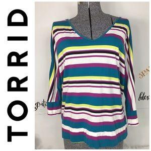 Torrid Womens Striped Top Plus Size 1 1X Open Back